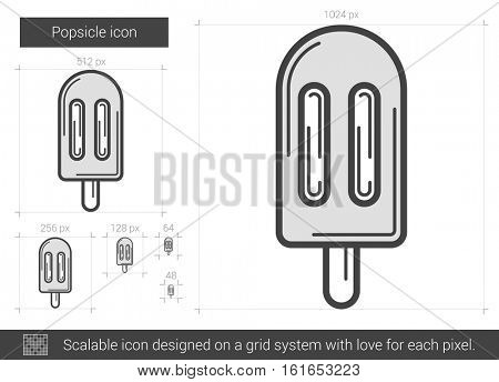 Popsicle vector line icon isolated on white background. Popsicle line icon for infographic, website or app. Scalable icon designed on a grid system.
