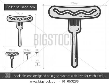 Grilled sausage vector line icon isolated on white background. Grilled sausage line icon for infographic, website or app. Scalable icon designed on a grid system.