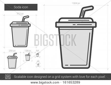 Soda vector line icon isolated on white background. Soda line icon for infographic, website or app. Scalable icon designed on a grid system.