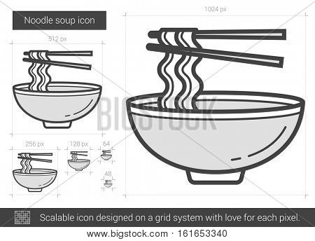 Noodle soup vector line icon isolated on white background. Noodle soup line icon for infographic, website or app. Scalable icon designed on a grid system.