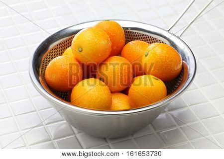 kumquat in the stainless steel bowl