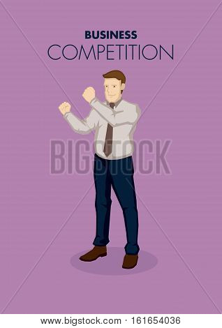 Vector illustration of business professional holding clench fists in ready to fight gesture isolated on purple background. Vector illustration for business competition concept.