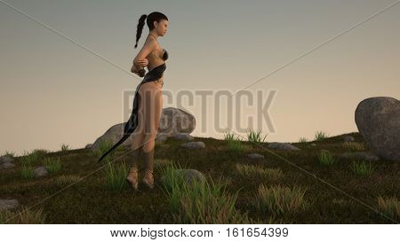 3d illustration of the Asian woman wearing fantasy outfit outdoor