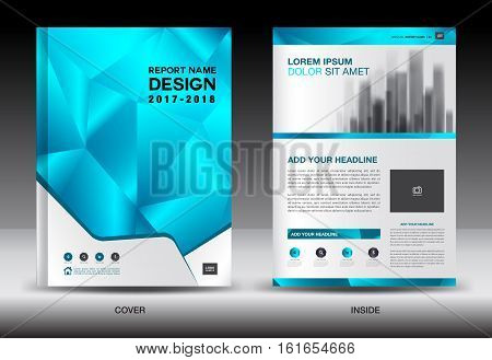 Annual report brochure flyer template, business brochure flyer, blue cover design, magazine ads, polygon background, catalog