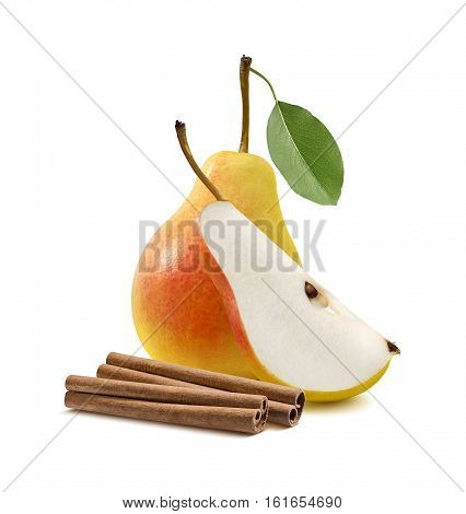 Yellow pear quarter cinnamon sticks isolated on white background as package design element