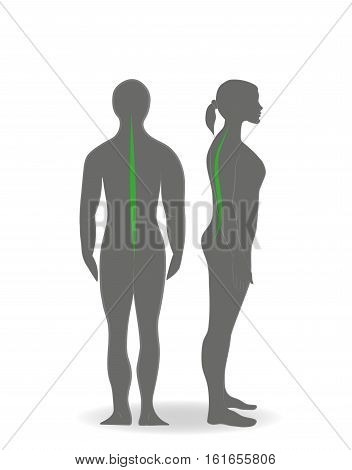 silhouette of a woman with the right posture. vector illustration.