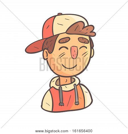 Smiling Boy In Cap And College Jacket Hand Drawn Emoji Cool Outlined Portrait. Part Of Funky Flat Vector Sticker Series With Teenager Different Emotional Facial Expressions In Comics Style.