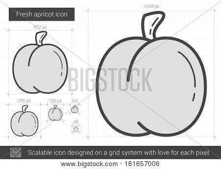 Fresh apricot vector line icon isolated on white background. Fresh apricot line icon for infographic, website or app. Scalable icon designed on a grid system.