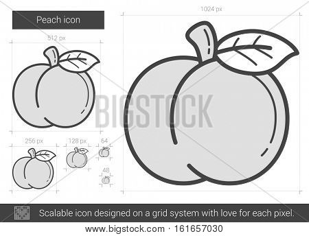 Peach vector line icon isolated on white background. Peach line icon for infographic, website or app. Scalable icon designed on a grid system.