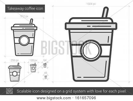 Takeaway coffee vector line icon isolated on white background. Takeaway coffee line icon for infographic, website or app. Scalable icon designed on a grid system.
