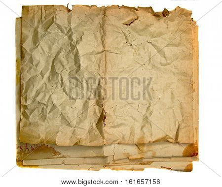 textured sheets of grunge paper isolated on white