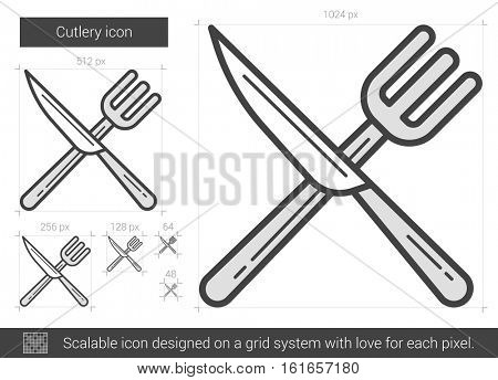 Cutlery vector line icon isolated on white background. Cutlery line icon for infographic, website or app. Scalable icon designed on a grid system.