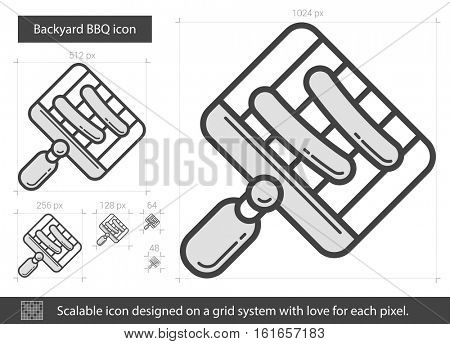 Backyard BBQ vector line icon isolated on white background. Backyard BBQ line icon for infographic, website or app. Scalable icon designed on a grid system.