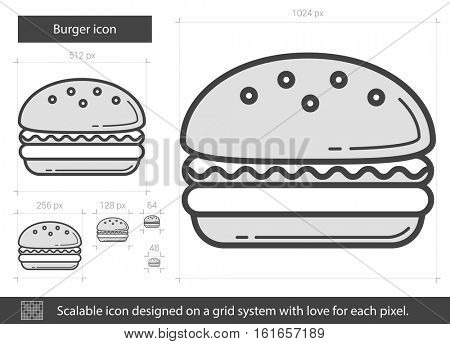 Burger vector line icon isolated on white background. Burger line icon for infographic, website or app. Scalable icon designed on a grid system.