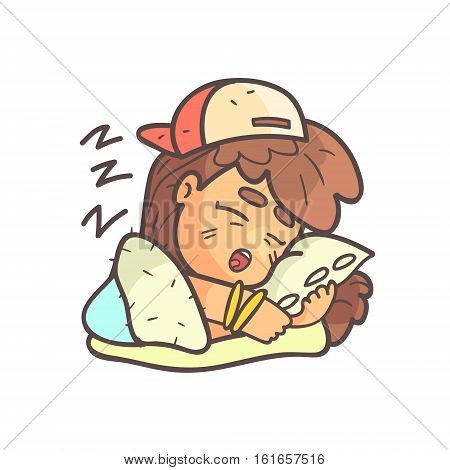 Sleeping Girl In Cap, Choker And Blue Top Hand Drawn Emoji Cool Outlined Portrait. Part Of Funky Flat Vector Sticker Series With Teenager Different Emotional Facial Expressions In Comics Style.