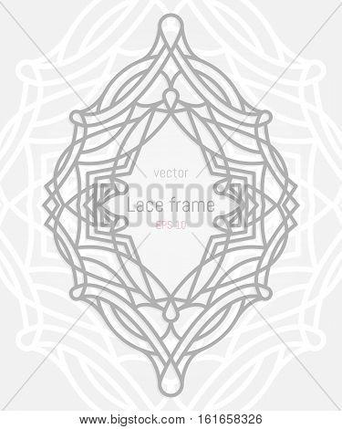 Decorative vector frame and border. Wedding or greeting card. Lazer cut ellipse ornament.