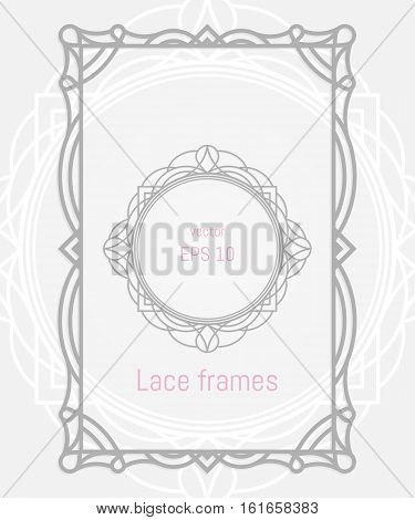 Decorative vector frames and borders. Wedding or greeting card. Lazer cut rectangle and round ornaments.