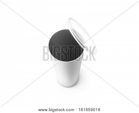 Blank white opened carton cylinder box mockup top view depth of field effect 3d rendering. Clear empty cylindrical tube container with plastic lid mock up. Chips and crisp cardboard packaging