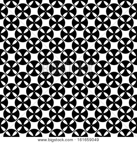 Vector seamless pattern, black & white abstract geometric texture. Simple monochrome illustration of tapes, bobbins. Endless repeat background. Design element for prints, textile, digital, furniture