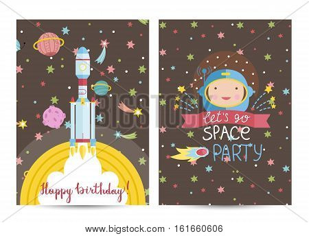 Happy birthday cartoon greeting card on space theme. Rocket flying in cosmos among stars and planets, astronaut face on starry brown background vector. Bright invitation on childrens costumed party