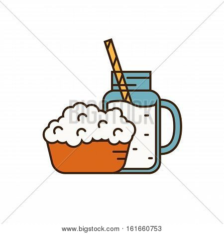 Dairy icon in line style design with cottage cheese on plate and glass jug with milk, isolated vector illustration. Traditional and healthy products. Organic farming. Natural and healthy food