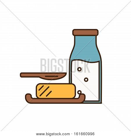 Dairy icon in line style design with butter on plate and glass bottle with milk, isolated vector illustration. Traditional and healthy products. Organic farming. Natural and healthy food