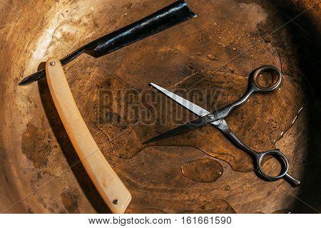 Vintage Razor And Hair Scissors