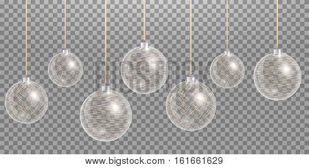 Christmas ball. New years decoration transparent background. Vector design