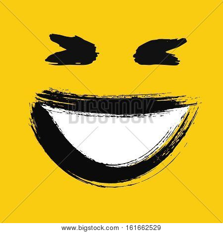 Laughing emoticon. Emoji with wide smile showing teeth. Happy face. Painted emotion icon. Grunge brush strokes design. Distressed texture. Vector illustration. For social networks, internet messages