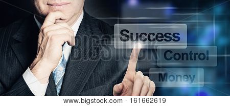 Businessman Hand Touch Success Button on Virtual Screen Interface. Business Success and Technology Concept