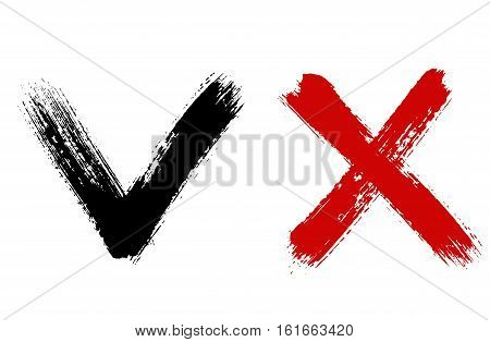 Check mark and x sign. Yes no graphic symbols. Voting for and against concept. Grunge cross. Brush strokes distressed texture. Vector illustration. Painted objects isolated on white background.