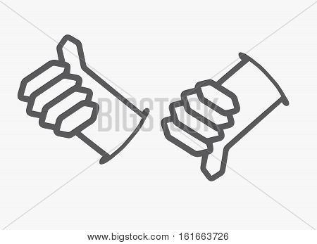 Like and Dislike button.Thumb up and down hand. unlike symbol. Vector illustration.