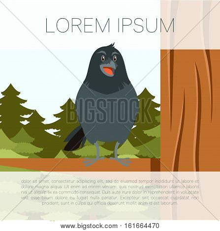 Vector image of the Happy Raven on the Tree winter flat background