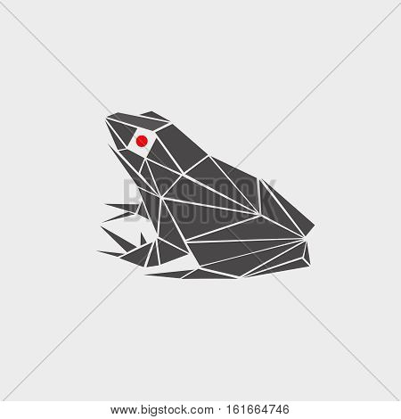 stylized vector illustration of a frog, toad polygonal, monochrome, red eyes. logo, icon, sign, symbol, flat painted in perspective