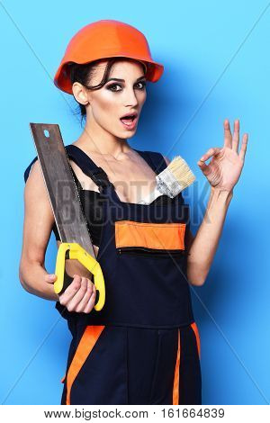 Surprised Cute Sexy Builder Girl