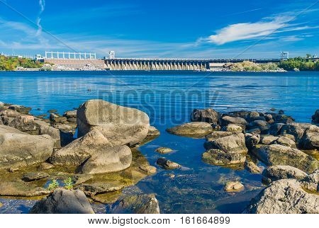 View from Khortytsia island to Hydroelectric Station on the Dnieper River Zaporizhia Ukraine.