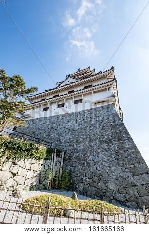 Bottom up view of the Karatsu Castle in Saga Prefecture, Japan
