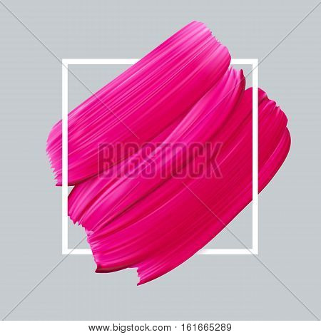Pink vector lipstick smear on white background. Template female girly emblem design