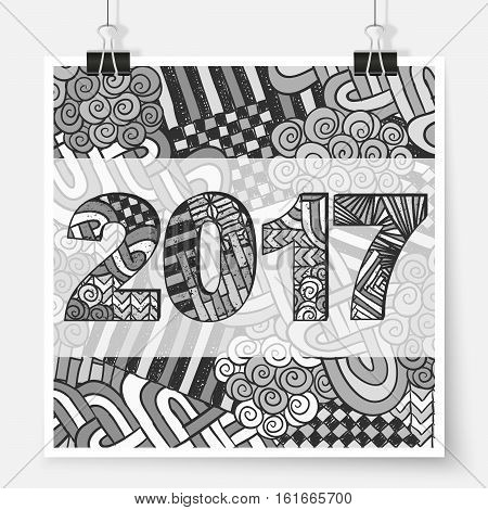 New Year 2017 Abstract Zentangle Poster On Wall Grey