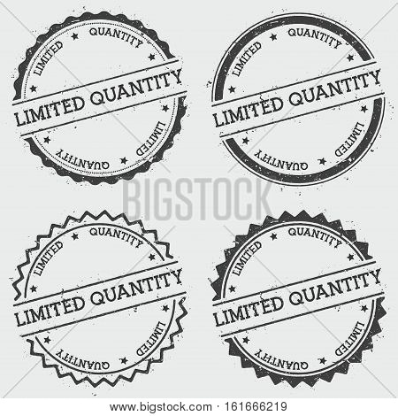 Limited Quantity Insignia Stamp Isolated On White Background. Grunge Round Hipster Seal With Text, I