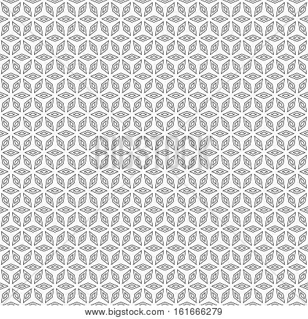 Vector monochrome seamless pattern, thin geometric figures, black & white rhombuses, simple ornamental background with polygons. Abstract endless texture. Design element for prints, digital, textile