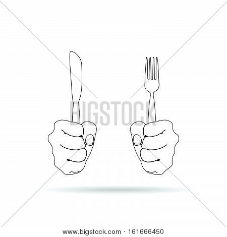 Cutlery In Hand Drawing Illustration On White Background