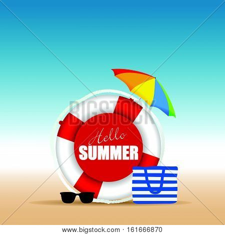 Live Saver With Hallo Summer And Beach Bag Illustration