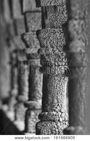 Norwegian ancient wooden columns detail. Borgund stave church. Norway. Vertical