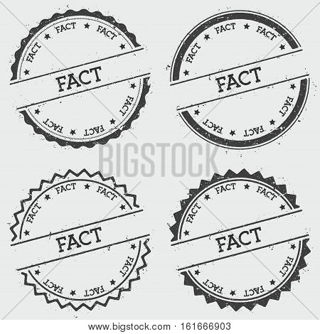 Fact Insignia Stamp Isolated On White Background. Grunge Round Hipster Seal With Text, Ink Texture A