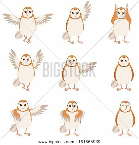 Vector image of the Set of flat icons of screech-owl