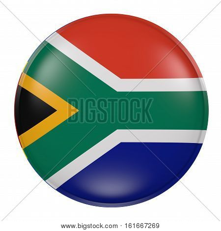 South Africa Button On White Background