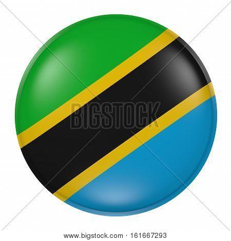 Tanzania Button On White Background