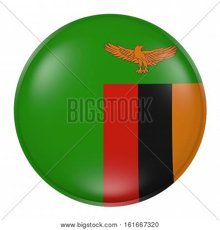Zambia Button On White Background