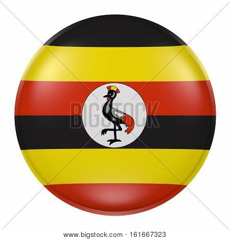 Uganda Button On White Background